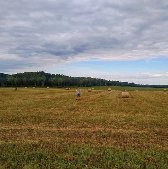 Typical Baltic scenery - Hay Barrels and wide open fields from Tallinn to Vilnius.